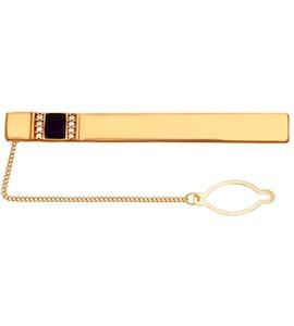 Позолоченный зажим для галстука с полосками фианитов и эмалью 93090004