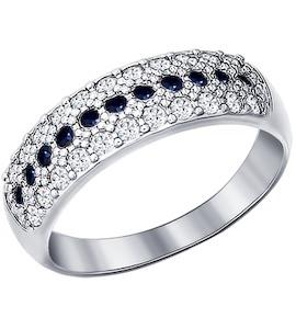 Серебряное кольцо с черными фианитами 94010063