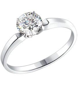 Серебряное помолвочное кольцо с фианитом 94010279