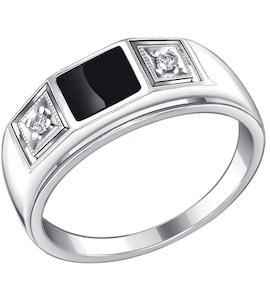 Печатка из серебра с эмалью с фианитами 94010437