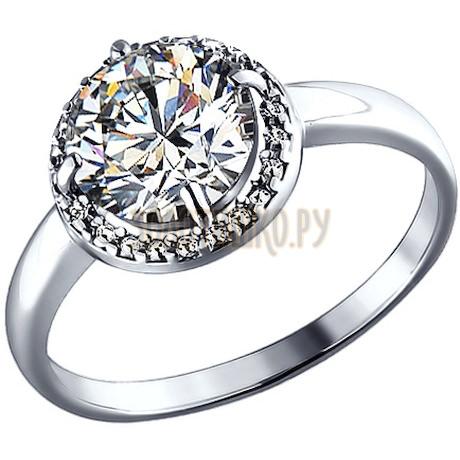 Кольцо из серебра с фианитом 94010497