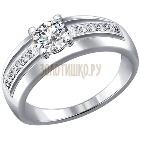 Кольцо из серебра с фианитами 94010517