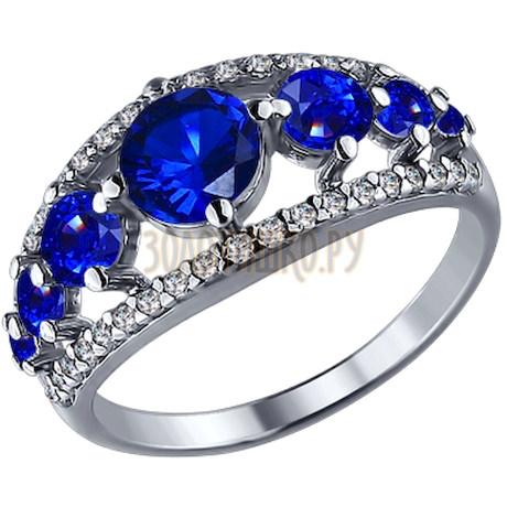 Кольцо из серебра с синими фианитами 94010520