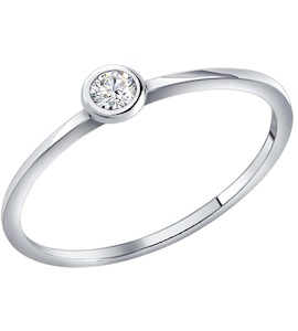 Помолвочное кольцо из серебра c фианитом 94010630