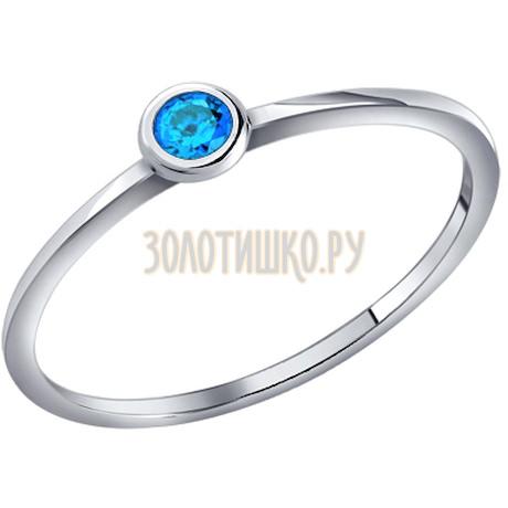 Тонкое серебряное кольцо с голубым фианитом 94010635