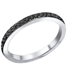 Серебряное кольцо с чёрными фианитами 94010700
