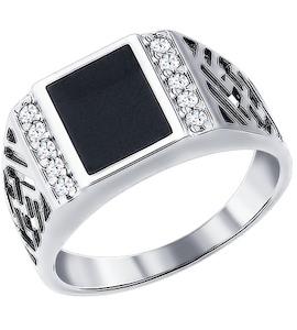 Печатка из серебра с эмалью с фианитами 94010713