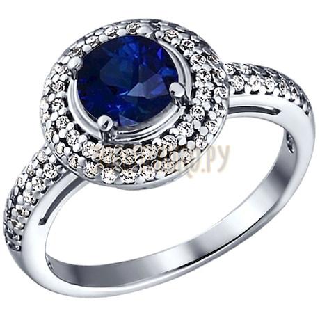 Кольцо из серебра с синим фианитом 94010778