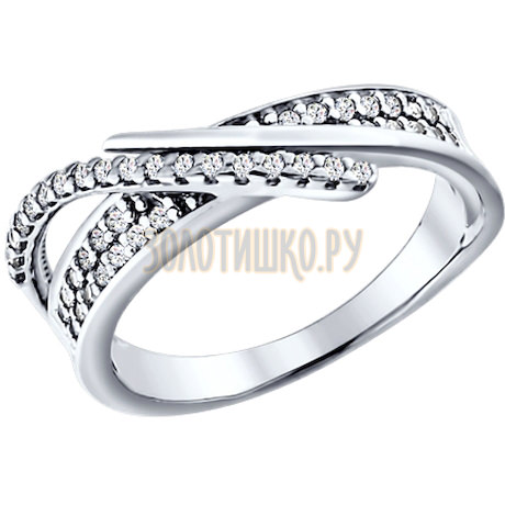Кольцо из серебра с фианитами 94010792