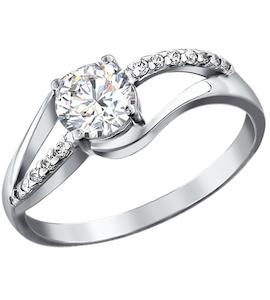 Кольцо с фианитом серебряное 94010862