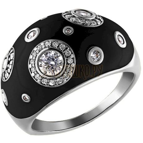 Кольцо из серебра с эмалью с фианитами 94010882