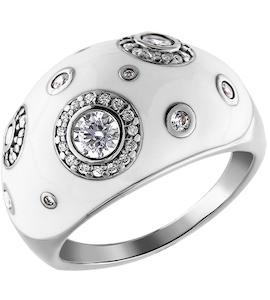 Толстое кольцо из серебра с фианитами 94010883