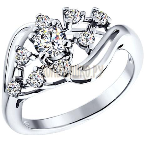 Кольцо из серебра с фианитами 94010890