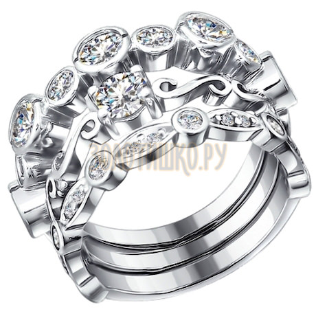 Кольцо из серебра с фианитами 94010905