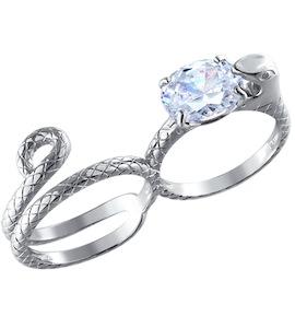 Серебряное кольцо на два пальца 94011046