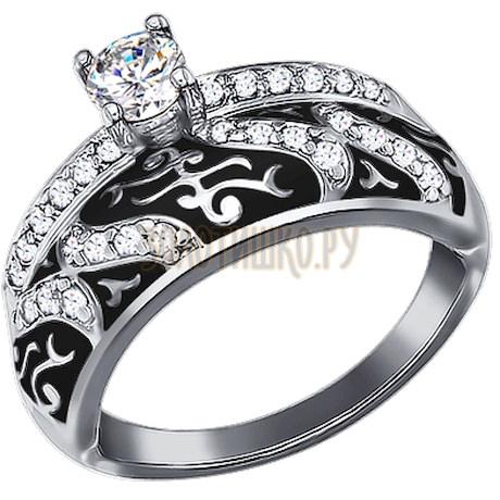 Кольцо из серебра с эмалью с фианитами 94011129