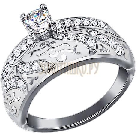 Кольцо из серебра с эмалью с фианитами 94011130