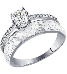 Серебряное кольцо с фианитами и белой эмалью 94011140