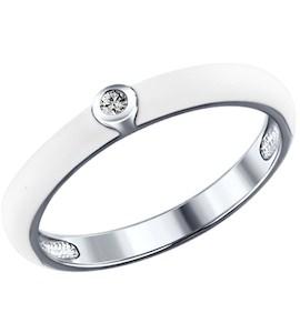 Белое кольцо из серебра с эмалью и фианитом 94011143