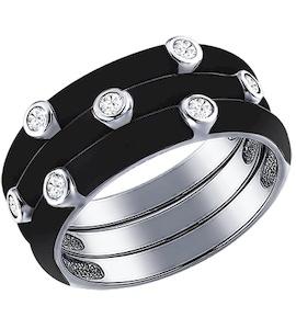 Чёрное кольцо из серебра с эмалью с фианитами 94011146