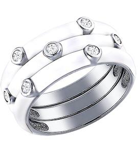 Кольцо наборное из серебра с эмалью с фианитами 94011147