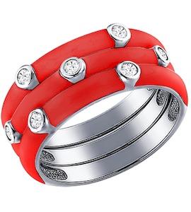 Серебряное кольцо покрытое красной эмалью 94011148