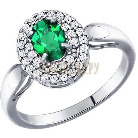 Кольцо из серебра с зелёным фианитом 94011179