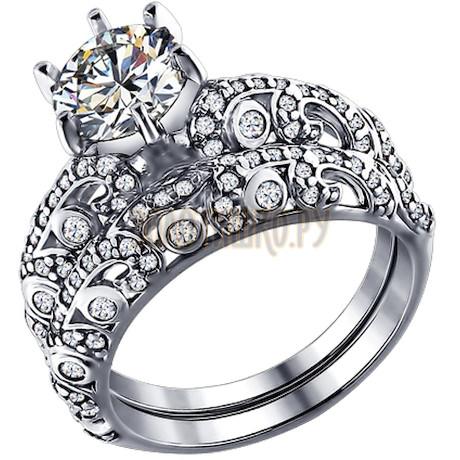 Кольцо наборное из серебра с фианитами 94011194