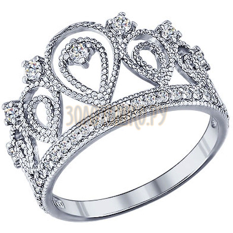 Кольцо «Корона» из серебра с фианитами 94011215