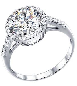 Белое серебряное кольцо с фианитами 94011237