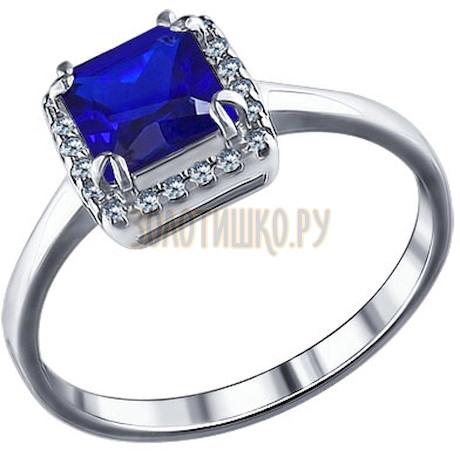 Кольцо из серебра с синим фианитом 94011246