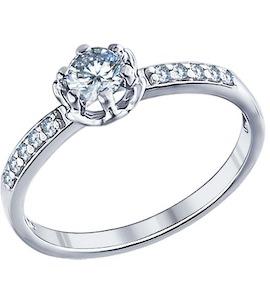 Помолвочное кольцо из серебра с фианитами 94011264