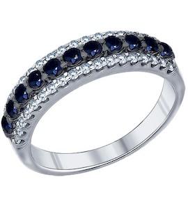 Кольцо из серебра с чёрными фианитами 94011271