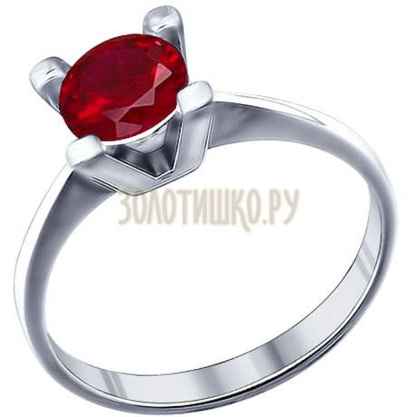 Кольцо из серебра с красным фианитом 94011276