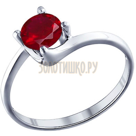 Кольцо из серебра с красным фианитом 94011284