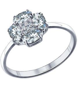 Помолвочное кольцо из серебра с фианитами 94011285