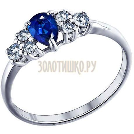 Кольцо из серебра с синим фианитом 94011291