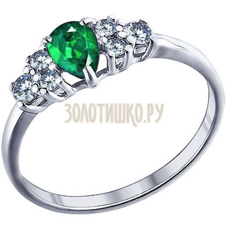 Кольцо из серебра с зелёным фианитом 94011292