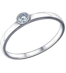 Помолвочное кольцо из серебра с фианитом 94011318