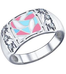 Кольцо из серебра с эмалью с фианитами 94011346