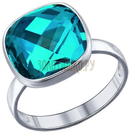 Кольцо из серебра с голубым кристаллом swarovski 94011363