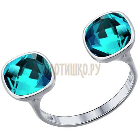 Кольцо из серебра с голубыми кристаллами swarovski 94011378