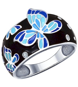 Чёрное кольцо с яркими бабочками 94011493