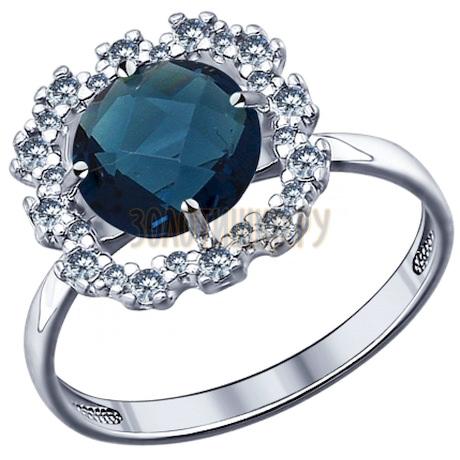 Кольцо из серебра с синей стеклянной вставкой и фианитами 94011530