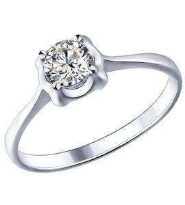 Помолвочное кольцо из серебра с фианитом 94011534