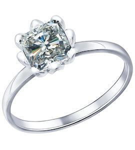 Помолвочное кольцо из серебра с фианитом 94011568