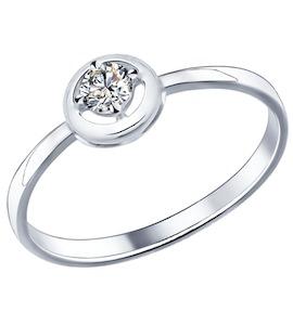 Помолвочное кольцо из серебра с фианитом 94011569