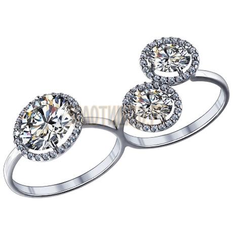 Кольцо на два пальца из серебра с фианитами 94011587