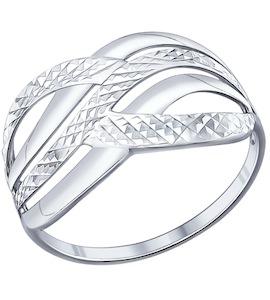 Кольцо из серебра с алмазной гранью 94011589