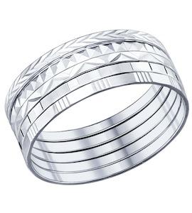 Кольцо наборное из серебра с алмазной гранью 94011591